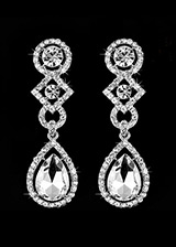 In Stock Elegant Silver Plated Alloy Wedding Earring With Rhinestones