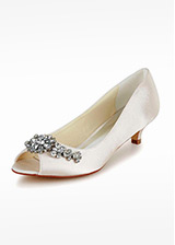 Elegant Satin Upper Peep Toe Mid-low Heels Bridal Shoes With Rhinestones