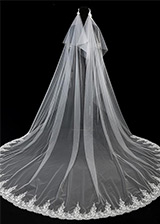 In Stock Gorgeous Tulle Wedding Veil With Lace Appliques