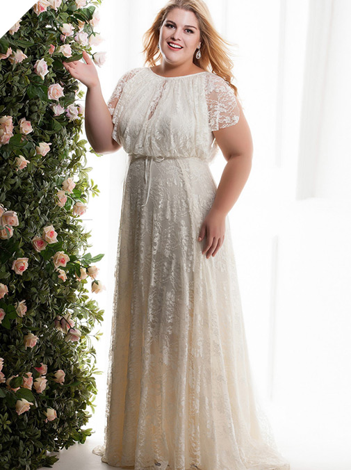 Wonderful Lace Jewel Neckline Plus Size A-line Wedding Dresses With Belt